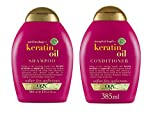 OGX Anti-Breakage Strength & Length + Keratin Oil Shampoo & Conditioner Combo | With Keratin Proteins & Argan Oil, For Damaged hair & Split Ends, Sulfate Free Surfactants, No Parabens, 385 ml