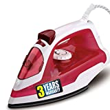 iBELL 1250 Watts Steam Iron Box with Adjustable Thermostatic Control,Shock Proof Body and 200ml Water Tank (White & Red)