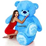 TEDSTREE 3 Feet/ 91cm Skin Friendly Ultra Soft Giant Stuffed Teddy Bear with Paw Printed Perfect for Presents, Valentines Day, Kids, Girlfreind, Wife, Husband, Girls (Blue - 3 Feet/ 91cm)
