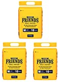 Friends Economy Adult Diapers Tape Style - 30 Count (Medium) with odour lock and Anti-Bacterial Absorbent Core- Waist Size 23.62-47.24 Inch ; 60-120cm