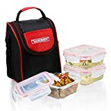 Kaiserhoff 3 Pcs Square Glass Lunch Box Set with Lunch Bag, 320 ml, Clear