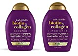 OGX Thick & Full Biotin & Collagen Shampoo & Conditioner Combo | With Vitamin B7 Biotin, Collagen & Hydrolyzed Wheat Protein, For Thicker, Fuller, Healthier looking hair, Sulfate Free Surfactant, No Parabens, 385 ml
