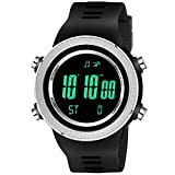 Lamkei ELAM-1267 Silver Digital Watch for Men - Alarm, Stopwatch, Day and Date Calender, 2 Years Battery Life