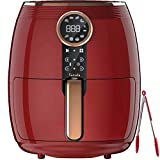 VARADA Max Electric Fryer 4.5 liter Large Capacity with 3D Rapid Hot Air Circulation Technology with Beautiful Touch Panel Display 1800 Watts Power Large Size Tong (Red)