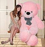 OSJS Toys 4 Feet Teddy Bear with Neck Bow Stuffed Spongy Cute Teddy Bear Pink_4 Feet (120 cm)