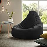 Ink Craft Bean Bag Chair with Fillers for Adults & Kids - Lazy Lounger Sofa Ottoman Seat Room Furniture and Accessory for Indoor and Outdoor ( Black , XL , Filled )