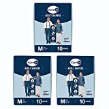 Kare In Adult Diaper Medium ,Waist Size 76-114cm (30'-45') ,High Absorbency 30 Pcs, Pack of 3