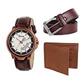 Zesta Analogue White Dial Combo Pack of a Brown Men's Watch with Wallet and a Belt Z143