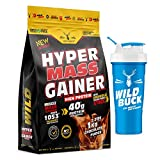 Wild Buck Hyper Mass Gainer, High Protein Muscle Mass Gainer with Creatine + Taurine,1053 Calories & 40g Protein, Gain Strength & Size, Weight Gainer for Men & Women [Chocolate Fudge,1 Kg] Free Shaker