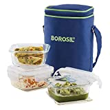 Borosil - Glass Lunch Box Set of 3, 320 ml, Microwave Safe Office Tiffin (12 x 12 x 6.5 cm)