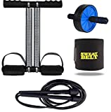 Effingo Double Spring Tummy Trimmer With Other Gym Equipment for Home Gym / Portable and Compact Abs Exerciser (Multicolor) (Double Spring Tummy Trimmer + Ab Wheel + Sweat Belt + Skipping Rope)