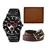 Zesta Analogue Black Dial Men's Watch with Brown Belt and Wallet Combo for Boys