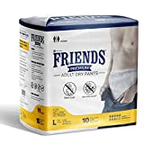 Friends Premium Adult Diapers Pant Style - 10 Count - L- with odour lock and Anti-Bacterial Absorbent Core- Waist Size 30- 56 Inch ; 76- 142cm