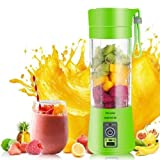 Portable USB Juicer   Personal Size Electric Rechargeable Juice & Smoothies Maker, Blender, Grinder Cup, Bottle Fruit Mixer Machine with 4 Blades for Home and Travel 380 ml (4 Blade) with USB Cable