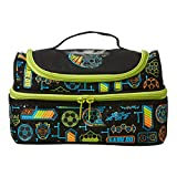 Smiggle Far Away Double Decker Large Spacious Lunchbox with Double Zips, Padded Insulated Lining Kids Non-Toxic Tiffin Box Case Lunch Bag for School – Football Print
