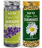 BLUE TEA - Chamomile Flower Tea - 30g & Lavender Flower Tea- 30g - Combo Pack   Caffeine Free Herbal Tea   60g - 100 Cups I