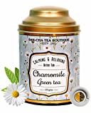 Sancha Tea Boutique Chamomile Green Tea, Night-time Tea, Bed Time Tea, Relieving Stress & Anxiety (100X3 Cups), 100% Rainforest Alliance Certified Tea, Soothing Floral and Vegetal Notes