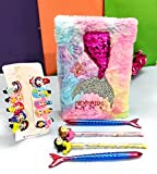 KIDOS JOY™ Cute Mermaid Soft Plush Fur Diary, Gel pens, Lead Pencils , Mermaid Hair Clips/ Birthday Party Festival Gifting for Kids/ Attractive Combo for Girls Women (6pcs Combo )