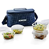 Borosil Indigo Glass Universal Lunch Box Set of 4, (2pcs 320 ml Sq. + 2pcs 240 ml Round) Microwave Safe Office Tiffin