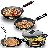 Hawkins Futura Hard Anodised Cookware Set 1 (Tava, Frying Pan, Deep-Fry Pan, Cook-n-Serve Bowl with One Hard Anodised Lid), Black (ASET1)