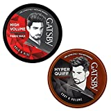 Gatsby Hair Styling Fiber Wax - Bold & Rise 75gm With Hair Styling Wax - Edgy & Volume 75gm | For High Volume & Hyper Quiff Style | Non Sticky, Re-Stylable & Easy to Wash Off | Made in Indonesia | Pack of 2