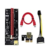 SaiRetail.Com Black VER 009S PCI-E Riser 1X to 16X Graphics Extension for GPU Mining Powered Riser Adapter Card for Bitcoin Mining
