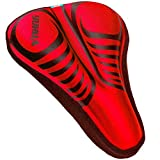 Alexvyan Silicone Gel Extra Soft Bicycle Saddle Seat & Cycling Cushion Pad Cover, Red