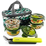 Home Puff Borosilicate Glass Lunch Box - Microwavable, AirVent Lid, Premium Carry Bag (Round 400 ML, Set of 4)