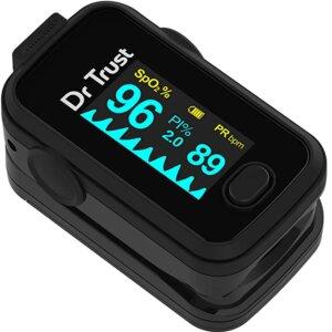 Best Pulse Oximeter - Dr Trust (USA) Signature Series Finger Tip Pulse Oximeter With Audio Visual Alarm ( Midnight Black )