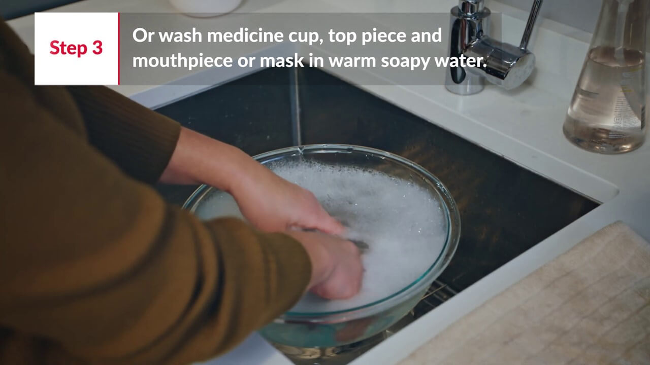 Step3.1 - Wash mouthpiece or mask, and medicine cup - in soapy water